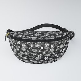 Festive Black and White Christmas Holiday Snowflakes Fanny Pack