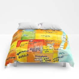 Manhattan Coffee Map Comforters