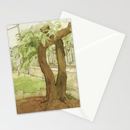 Watercolour and Ink Garden Nature Tree Sketch Outdoor Painting Landscape Green and Brown Stationery Cards