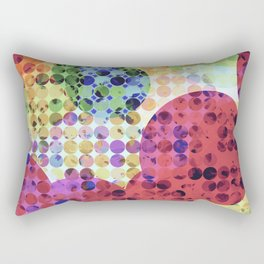 geometric circle pattern abstract background in red pink yellow orange green Rectangular Pillow
