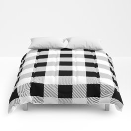 western country french farmhouse black and white plaid tartan gingham print Comforters