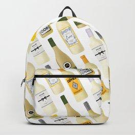 White Wine Bottles Illustration Backpack