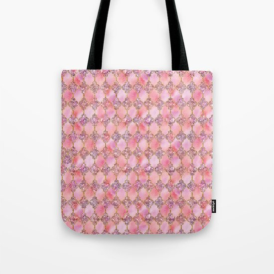 Luxury Gold and Pink Glitter effect oriental pattern on #Society6 Tote Bag