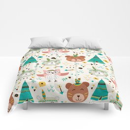 Boho Forest , Woodland Critters Comforters