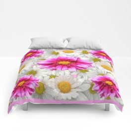 PINK DAHLIAS WHITE DAISIES FLORALS Comforters