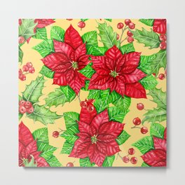 Poinsettia and holly berry watercolor Christmas pattern Metal Print