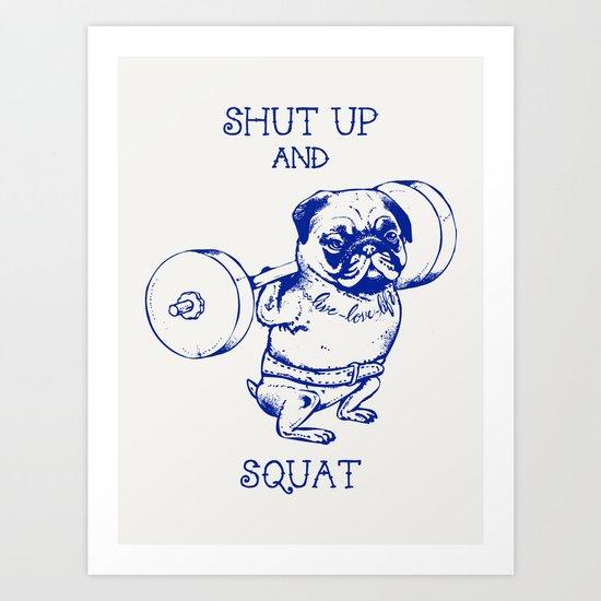 Pug Squat Art Print