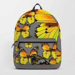 CLUSTER YELLOW-BROWN  BUTTERFLIES GREY  DESIGN Backpack