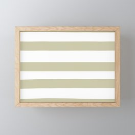 Natural Olive Green - Martinique Dawn - Asian Silk Hand Drawn Fat Horizontal Lines on White Framed Mini Art Print