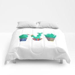 Cacti assortment in watercolour Comforters