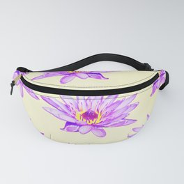 Water lilies purple cream inky watercolor Fanny Pack
