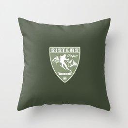 Ski Sisters Oregon Throw Pillow