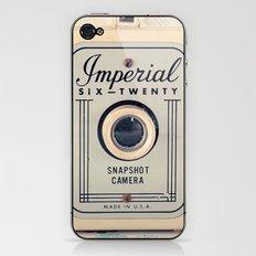 Retro Film Camera on Beige - Cream Pattern Background  iPhone & iPod Skin