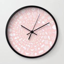 Rose Quartz Love Symbols Mandala Wall Clock