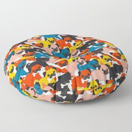 COLORED PUGS PATTERN no2 Floor Pillow