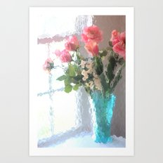 Impressionistic French Aqua Coral Pink Roses Tulips Floral Decor Art Print