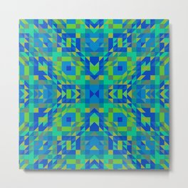 WICKED bright green and royal blue symmetrical geometric design Metal Print
