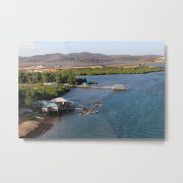 Indonesian River-House Sunset Photo Metal Print
