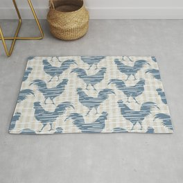 Farmhouse Rooster Pattern on Stripes Muted Blue Beige Rug