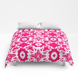 Valencia - Symmetrical Tiling Abstract in Pink and White Comforters