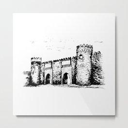 Old Tower Gate Ink Art Metal Print