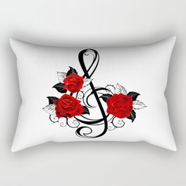 Black Musical Key with Red Roses Rectangular Pillow