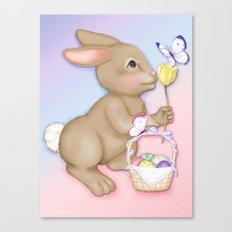 Brown Bunny and Basket Canvas Print