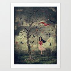 Girl on a swing in the woods Art Print
