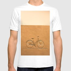 i like to ride my bicycle  MEDIUM White Mens Fitted Tee