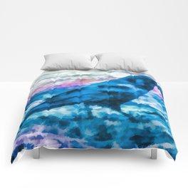 Turquoise Crow Art By Priya Ghose Comforters