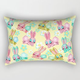 Bunnies and Daisies on Yellow Rectangular Pillow