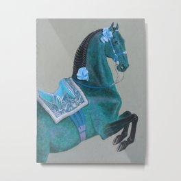 Blue Baroque Horse Metal Print