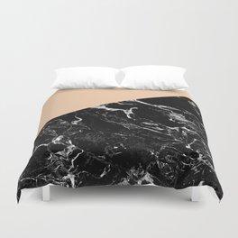 Modern elegant peach black marble color block Duvet Cover