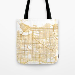 VANCOUVER CANADA CITY STREET MAP ART Tote Bag