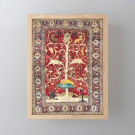 Silk Heriz Azerbaijan Northwest Persian Rug Print Framed Mini Art Print