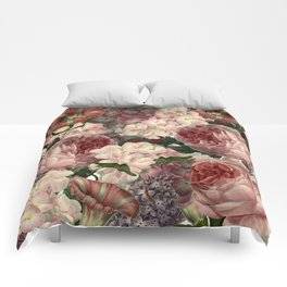 Vintage & Shabby Chic Pink Dark Floral Roses Lilacs Flowers Watercolor Pattern Comforters