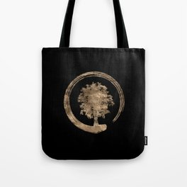 Enso Zen Circle and Tree - Gold on black Tote Bag