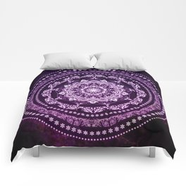 Purple Glowing Soul Mandala Comforters