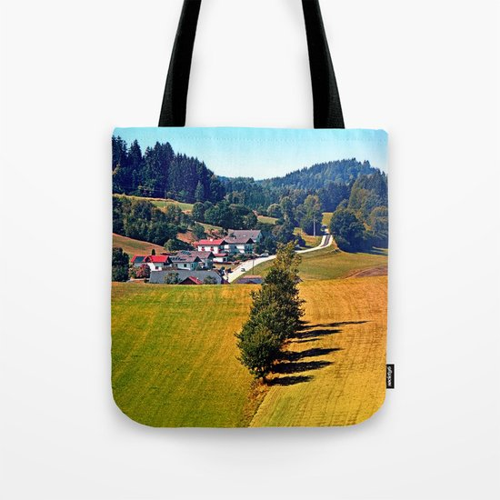 A village, some trees, and more boring scenery Tote Bag