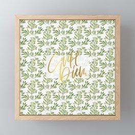 carpe diem - gold foil with green foilage Framed Mini Art Print
