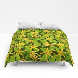 Ylang Ylang Exotic Scented Flowers and Leaves Pattern Comforters
