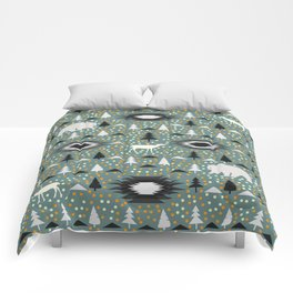 Winter pattern with deer, bears and dots Comforters