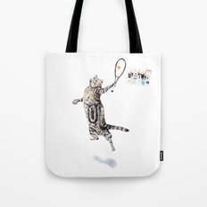Cat Playing Tennis Tote Bag