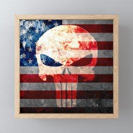 Skull and American Flag on Distressed Metal Framed Mini Art Print