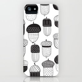 Doodle acorns autumn pattern iPhone Case