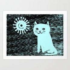 Wood grain cat Art Print