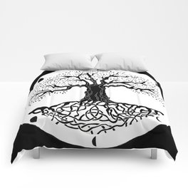 black and white tree of life with moon phases and celtic trinity knot III Comforters