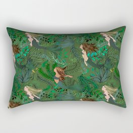 Mermaids in an Underwater Garden Rectangular Pillow