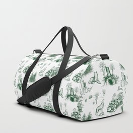 Eurasian Wolf Toile Pattern (Green) Duffle Bag