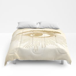 I See You. Vintage Gold Antique Paper Comforters